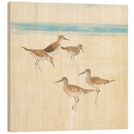 Wood print  Sandpipers Square I - Avery Tillmon