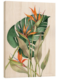 Wood print  Botanical: Birds of paradise - Kathleen Parr McKenna