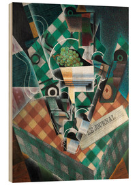 Wood  Still life with checkered tablecloth - Juan Gris