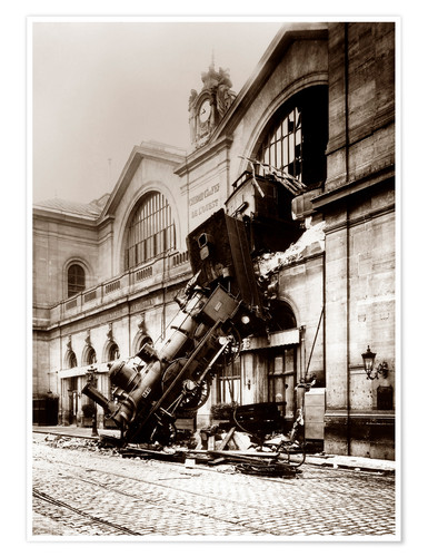Premium poster Train accident at the Montparnasse station, Paris