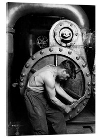 Acrylic glass  Worker on steam engine - John Parrot