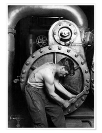 Poster Worker on steam engine