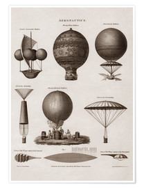 Poster Illustration of early hot air balloon designs
