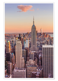 Premium poster Manhattan skyline, Empire State Building, sunset