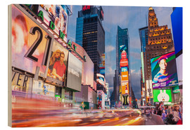 Wood print  Passing vehicles in front of the billboards of Times Square in New York - Neale Clarke