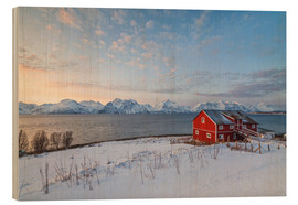 Wood print  Norwegian wooden huts in the sunset - Roberto Moiola