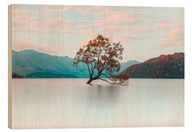 Wood print  The wanaka tree - Nicky Price