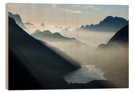 Wood print  Fog on the peaks of the Dolomites - Roberto Moiola