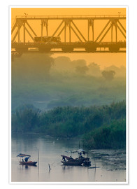 Premium poster Iron bridge over the Red River in Hanoi
