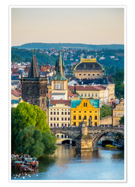Premium poster View of Charles Bridge and buildings at Mala Strana Old Town