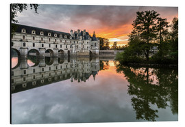 Aluminium print  Castle Chenonceau reflects in the Loire at sunset - Francesco Vaninetti