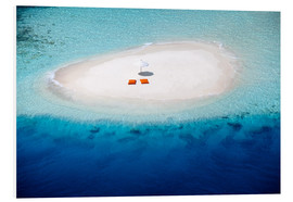 Foam board print  Sandbank, pillows and parasol in the malidives - Sakis Papadopoulos