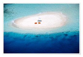 Premium poster Sandbank, pillows and parasol in the malidives