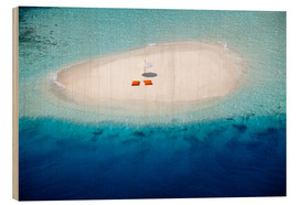 Wood print  Sandbank, pillows and parasol in the malidives - Sakis Papadopoulos