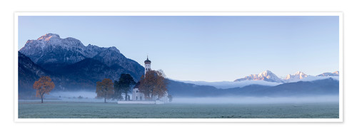 Premium poster Panorama of the St. Coloman church, Bavaria
