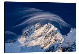 Aluminium print  Gentle cloud over Piz Bernina, Switzerland - Roberto Moiola