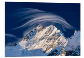 Foam board print  Gentle cloud over Piz Bernina, Switzerland - Roberto Moiola