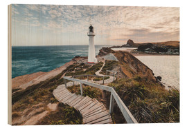 Wood print  Lighthouse of Wellington, New Zealand - Nicky Price