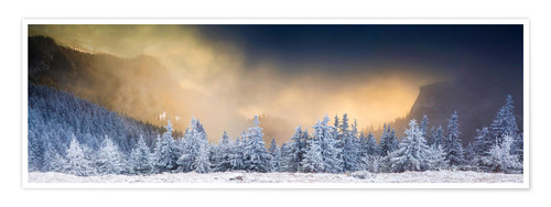 Poster Sunrise over the wintry Ceahlaul massif, Romania