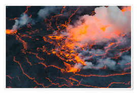 Premium poster  The lava lake of Mount Nyiragongo, Congo - Michael Runkel
