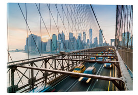 Acrylic glass  Rush hour traffic on Brooklyn Bridge and Manhattan skyline - Fraser Hall