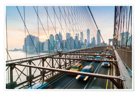 Fraser Hall - Rush hour traffic on Brooklyn Bridge and Manhattan skyline