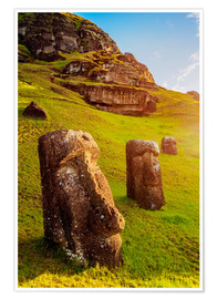 Poster Moais in the quarry on the slope of the volcano Rano Raraku on the Easter Island