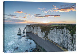 Canvas  Dawn at the chalk cliffs of Normandy, France - Francesco Vaninetti
