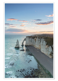 Poster  Dawn at the chalk cliffs of Normandy, France - Francesco Vaninetti