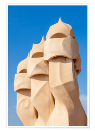 Premium poster  Chimney sculptures at Casa Mila, Barcelona - Neale Clarke
