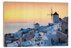 Wood print  Sunset over the white stone buildings of Santorini - Matt Parry