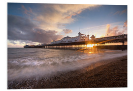 Foam board print  Brighton pier at sunset with dramatic sky - Lee Frost