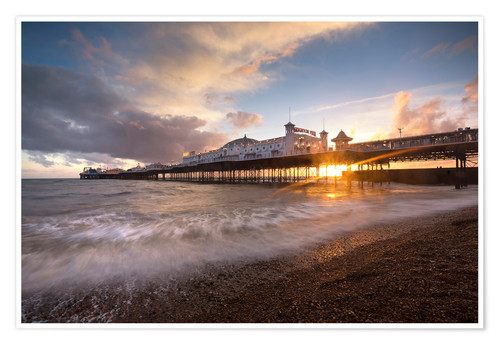 Premium poster Brighton pier at sunset with dramatic sky