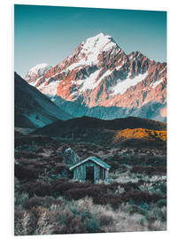 Foam board print  Hut at Mount Cook, New Zealand - Nicky Price