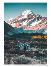Premium poster Hut at Mount Cook, New Zealand