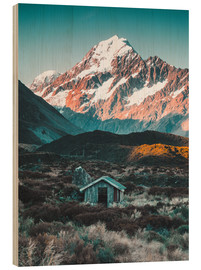 Wood print  Hut at Mount Cook, New Zealand - Nicky Price