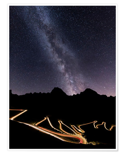 Premium poster Milky Way and street lights on the Stelvio Pass