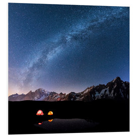 Foam board print  Starlight over Mont Blanc, Mont De La Saxe and Grand Jorasses - Roberto Moiola