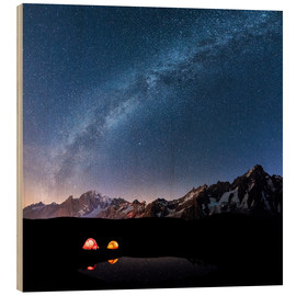 Wood print  Starlight over Mont Blanc, Mont De La Saxe and Grand Jorasses - Roberto Moiola