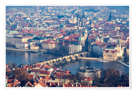 Poster  View of the old town of Prague on the Vltava - Roberto Moiola