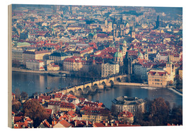 Wood print  View of the old town of Prague on the Vltava - Roberto Moiola