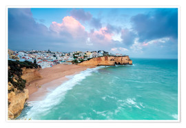 Premium poster View of Carvoeiro village surrounded by sandy beach