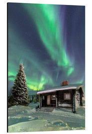 Aluminium print  Northern Lights frame a wooden hat - Roberto Moiola