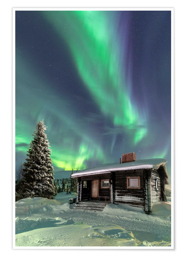 Premium poster Northern Lights frame a wooden hat
