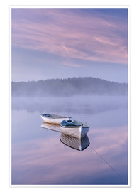 Premium poster Daybreak over foggy lake