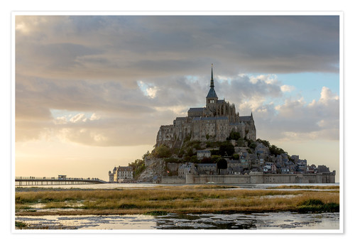 Premium poster Sunset light, Mont-Saint-Michel