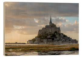 Wood print  Sunset light, Mont-Saint-Michel - Francesco Vaninetti
