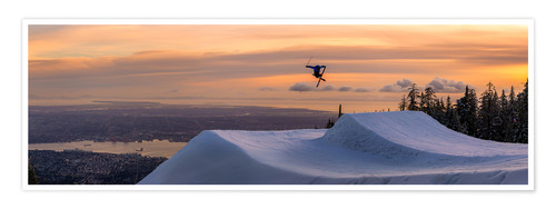 Premium poster Freestyle skier in the sunset