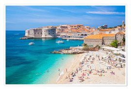 Premium poster  Old harbor and old town of Dubrovnik - Neale Clarke
