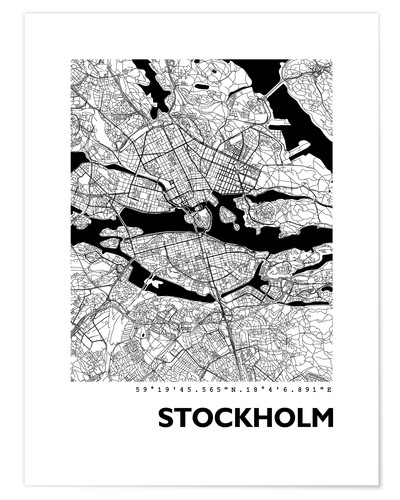 Premium poster City map of Stockholm